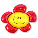 Воздушный шар (15''/38 см) Мини-фигура, Солнечная улыбка, Красный, 1 шт.